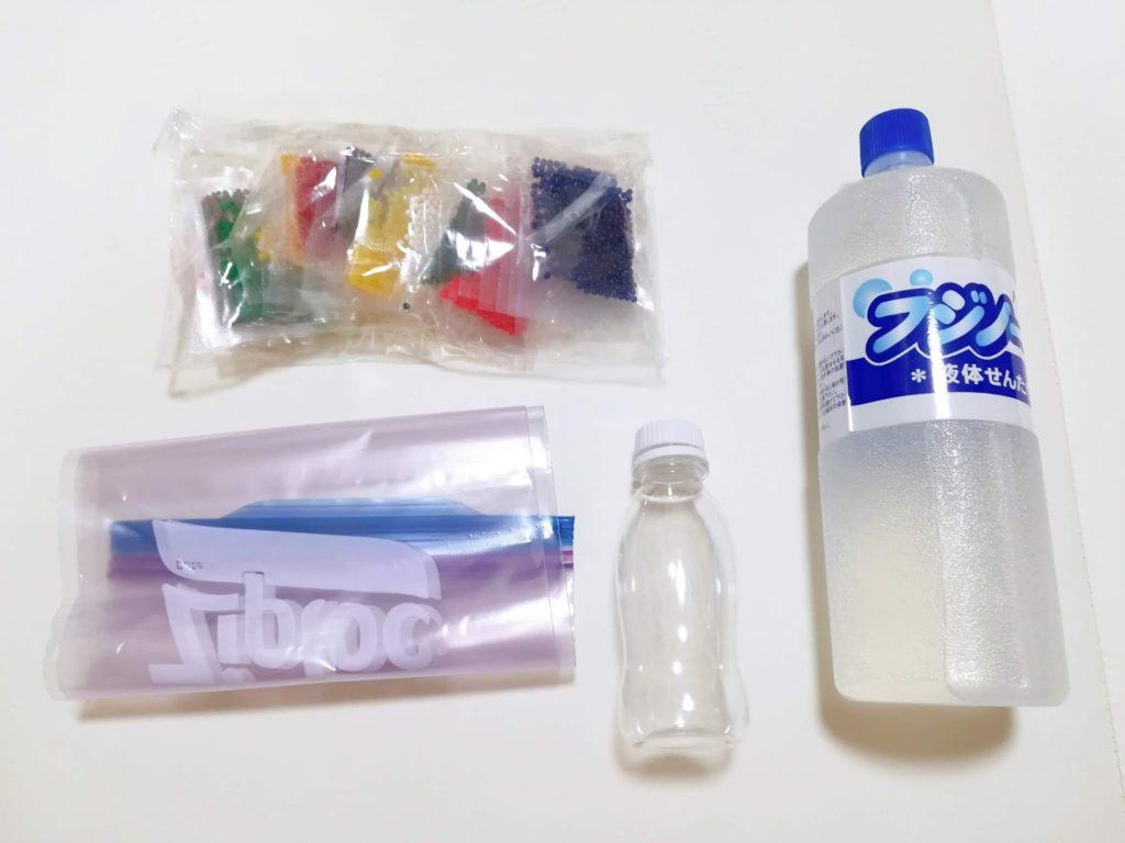 センサリーボトル、センサリーバッグの材料となるぷよぷよボール、ジップロック、ペットボトル、洗濯のり