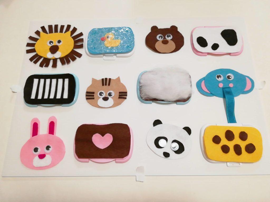 センサリーボードの「各動物」パーツを貼った図