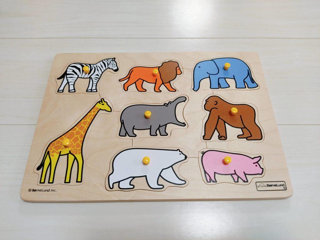 1歳7ヶ月娘にTOYBOXからレンタルしたおもちゃ・知育玩具:「ピックアップパズル・動物園」