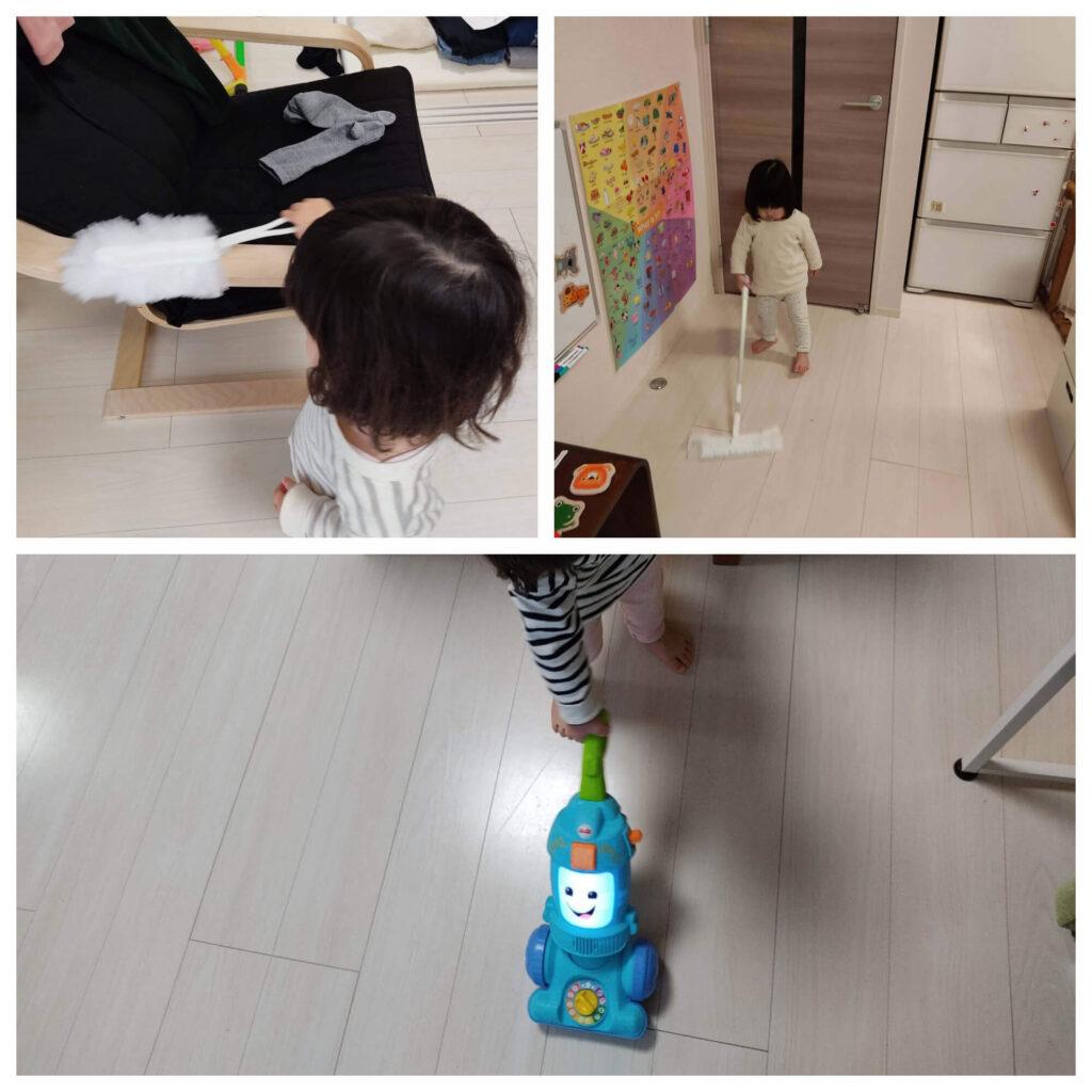 100均でそろえた子供用お掃除セットで熱心に掃除をする娘(1歳後半~2歳)