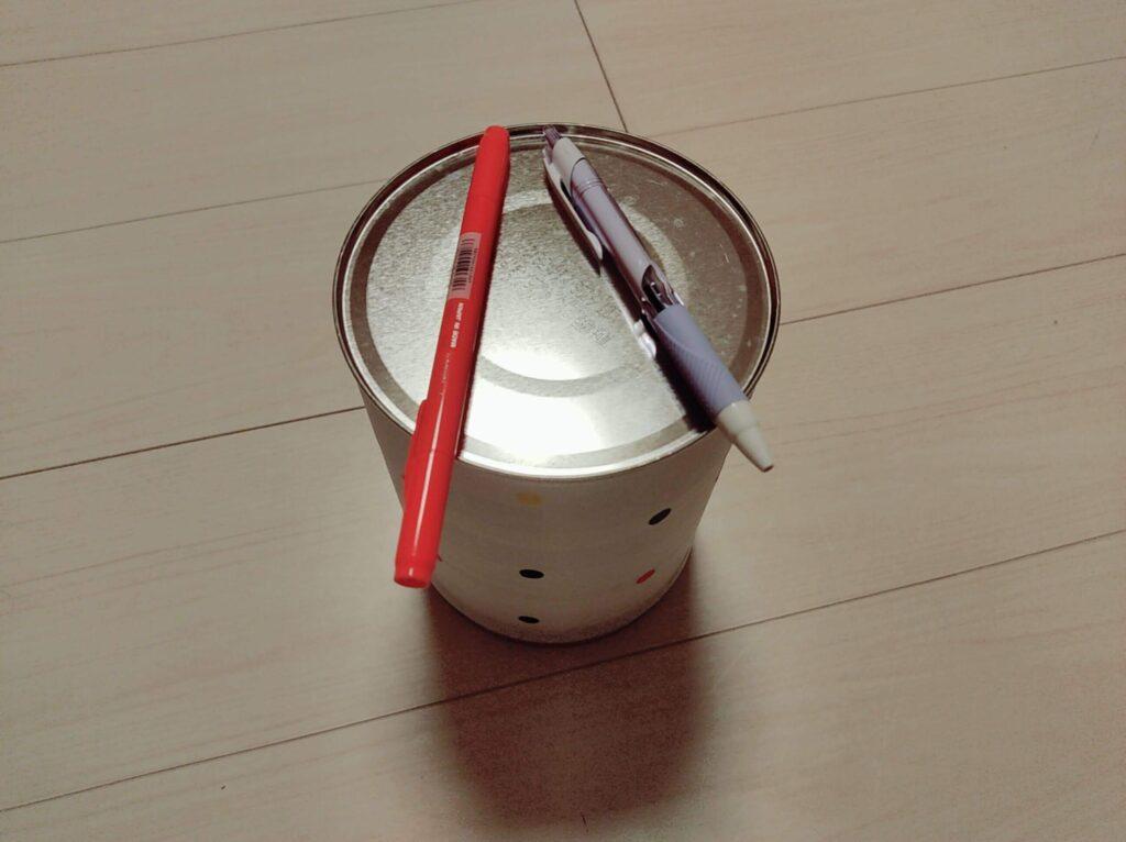 ミルク缶をリメイクしたゴミ箱はときどき太鼓に変身