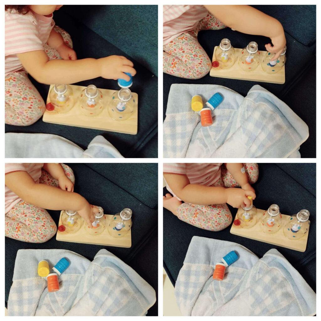 モンテッソーリ「まわしてフタの開閉をするおもちゃ」で遊ぶ2歳娘