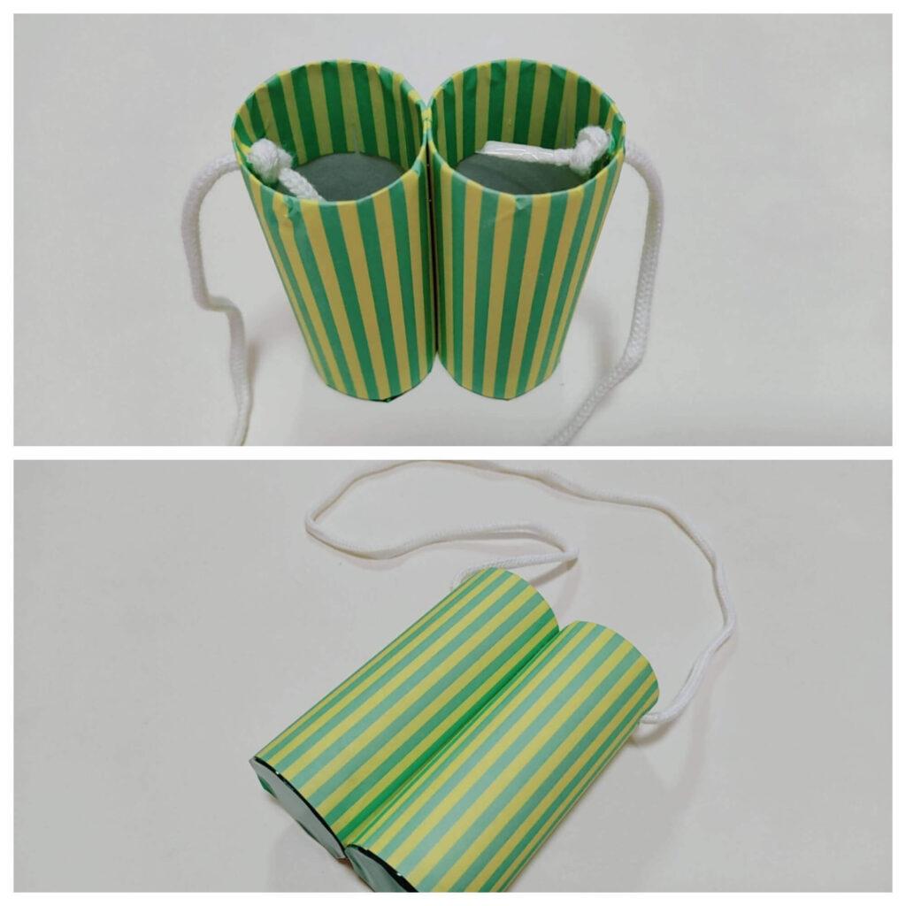 カラーセロファンとトイレットペーパーの芯で作る「色めがね」紐付きバージョン