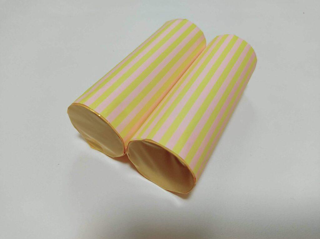 カラーセロファンとトイレットペーパーの芯で作る「色めがね」の完成図